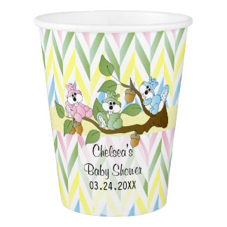 Pastel Squirrel Baby Girl Shower Paper Cup