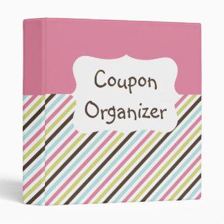 Pastel Stripe Coupon Organizer 3 Ring Binder