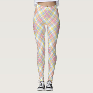 Pastel Stripe Plaid Leggings