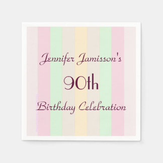 Pastel Striped Paper Napkins, 90th Birthday Party Paper Napkins
