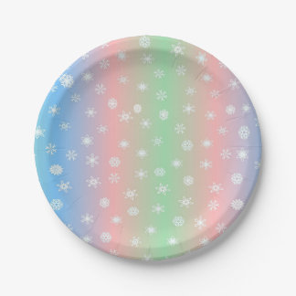 Pastel Stripes and Snowflake Paper Plate