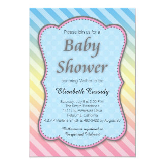 Pastel, Stripes, Blue, Pink Baby Shower Invitation