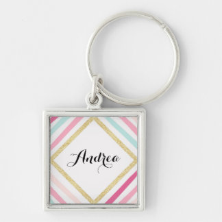 Pastel Stripes Gold Glitter Personalized Keychain