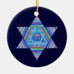 Pastel Stripes Hanukkah Star Ornament