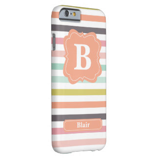 Pastel Stripes Monogram Barely There iPhone 6 Case