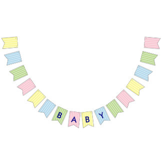 Pastel Stripes | Pink, Yellow, Blue, Green Baby Bunting Flags