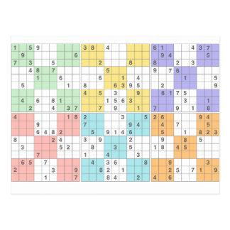pastel sudoku postcard