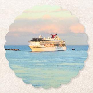 Pastel Sunrise and Cruise Ship Paper Coaster