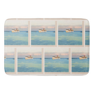Pastel Sunrise and Cruise Ship Pattern Bath Mat