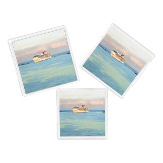 Pastel Sunrise with Cruise Ship Acrylic Tray