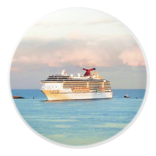 Pastel Sunrise with Cruise Ship Ceramic Knob