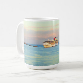 Pastel Sunrise with Cruise Ship Coffee Mug