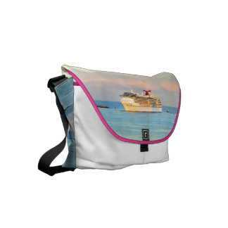 Pastel Sunrise with Cruise Ship Courier Bag