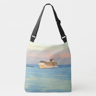 Pastel Sunrise with Cruise Ship Crossbody Bag