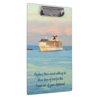 Pastel Sunrise with Cruise Ship Custom Clipboard