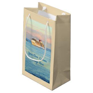 Pastel Sunrise with Cruise Ship Custom Small Gift Bag