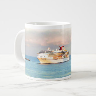 Pastel Sunrise with Cruise Ship Large Coffee Mug
