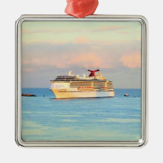 Pastel Sunrise with Cruise Ship Metal Ornament