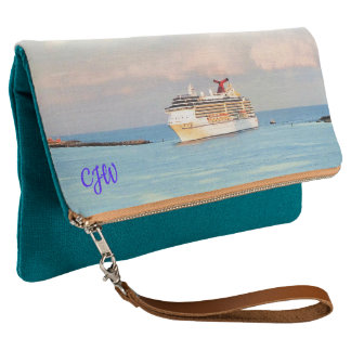 Pastel Sunrise with Cruise Ship Monogrammed Clutch