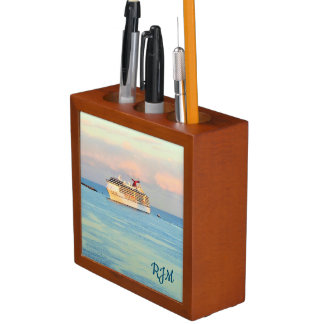 Pastel Sunrise with Cruise Ship Monogrammed Desk Organizer