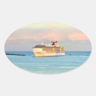 Pastel Sunrise with Cruise Ship Oval Sticker
