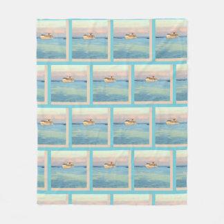 Pastel Sunrise with Cruise Ship Pattern Fleece Blanket