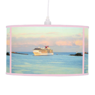 Pastel Sunrise with Cruise Ship Pendant Lamp