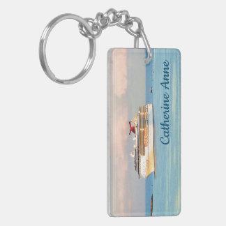 Pastel Sunrise with Cruise Ship Personalized Keychain