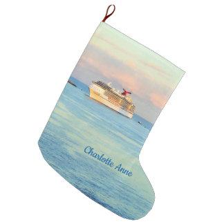 Pastel Sunrise with Cruise Ship Personalized Large Christmas Stocking