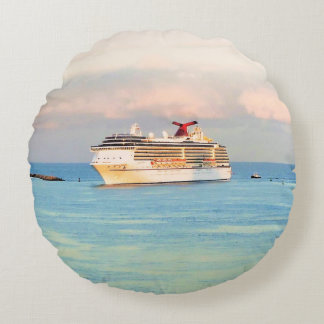 Pastel Sunrise with Cruise Ship Round Pillow