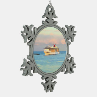 Pastel Sunrise with Cruise Ship Snowflake Pewter Christmas Ornament