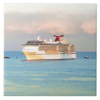 Pastel Sunrise with Cruise Ship Tile