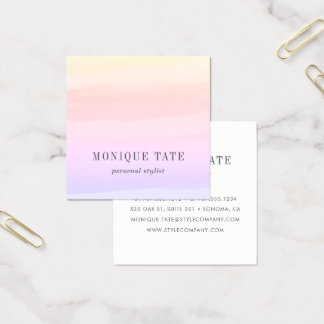 Pastel Sunset Watercolor Square Business Card