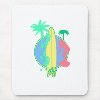 Pastel Surf Board Logo Mouse Pad