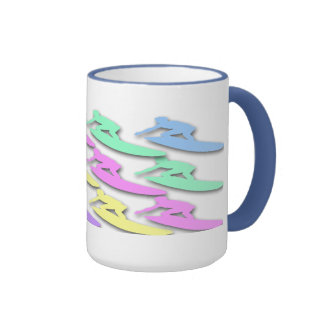 Pastel Surfer Pattern Coffee Mugs