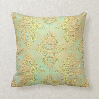 Pastel Teal and Gold Aurora Antiqued Damask Throw Pillow