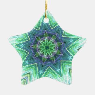 Pastel Teal Blue Star Shaped Mandela Ceramic Ornament