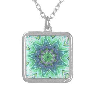 Pastel Teal Blue Star Shaped Mandela Silver Plated Necklace