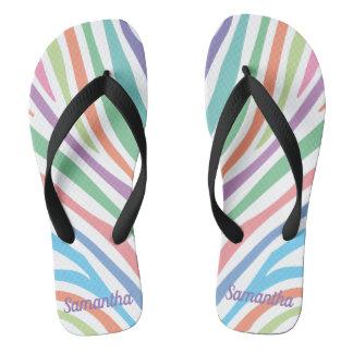 Pastel Tiger Stripes Flip Flops