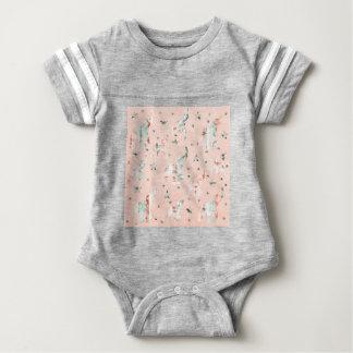 Pastel Tone Elephants Stars Pattern Baby Bodysuit