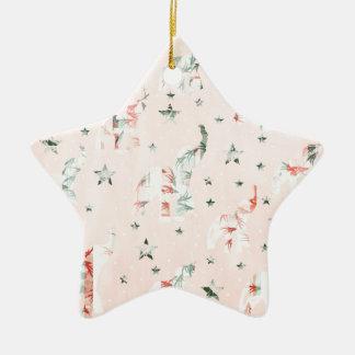 Pastel Tone Elephants Stars Pattern Ceramic Star Ornament