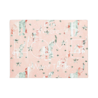 Pastel Tone Elephants Stars Pattern Doormat