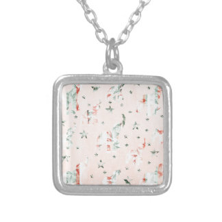 Pastel Tone Elephants Stars Pattern Silver Plated Necklace