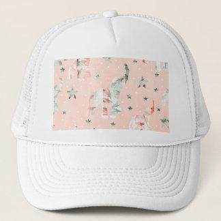 Pastel Tone Elephants Stars Pattern Trucker Hat