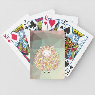 Pastel Tone Flowery Sheep Design Bicycle Playing Cards