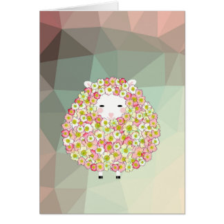 Pastel Tone Flowery Sheep Design Card