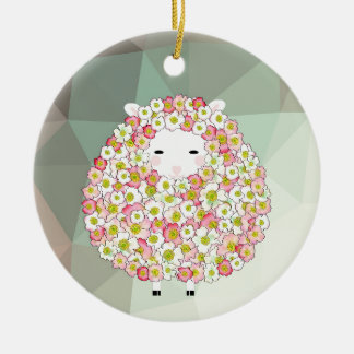 Pastel Tone Flowery Sheep Design Ceramic Ornament