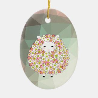 Pastel Tone Flowery Sheep Design Ceramic Oval Ornament