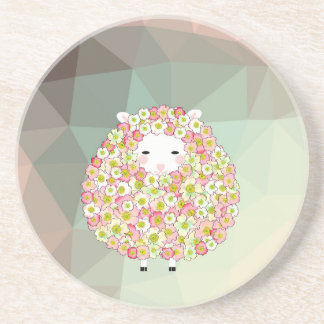 Pastel Tone Flowery Sheep Design Coaster