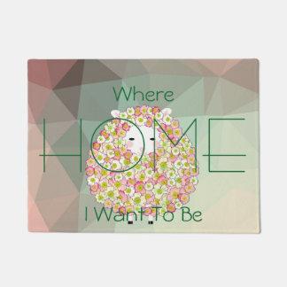 Pastel Tone Flowery Sheep Design Doormat